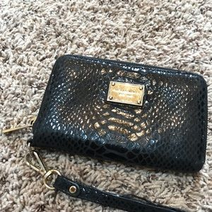 Authentic Michael Kors Black Snakeskin Wristlet